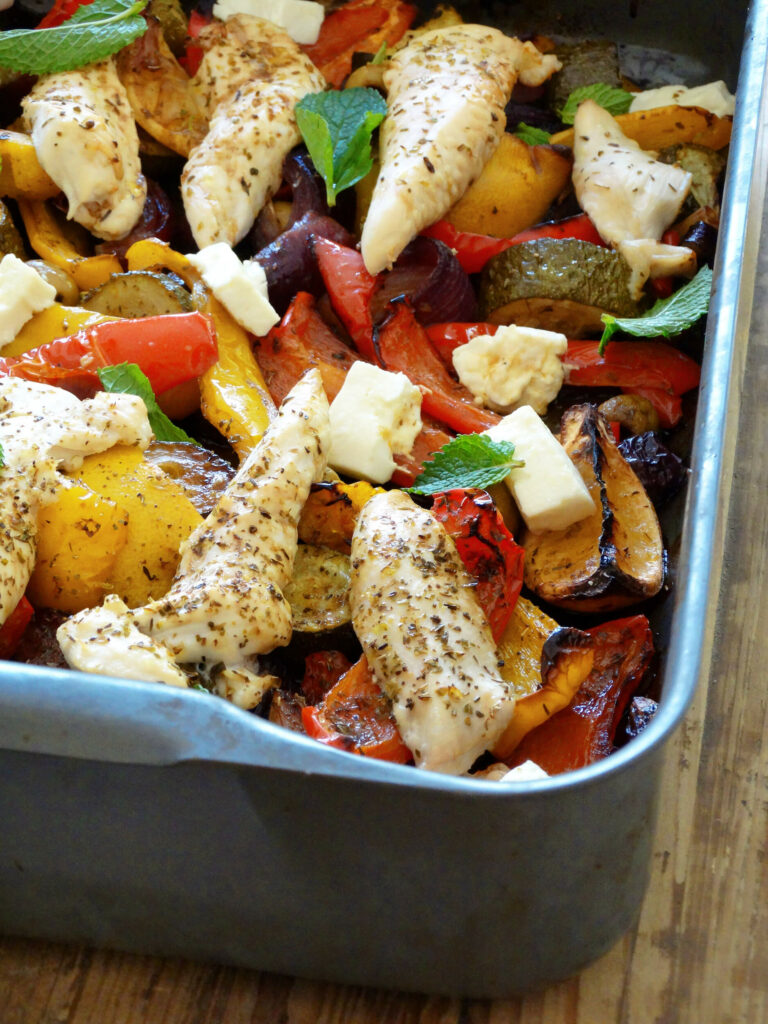 Daddelicious - Greek chicken traybake - family and baby food recipe