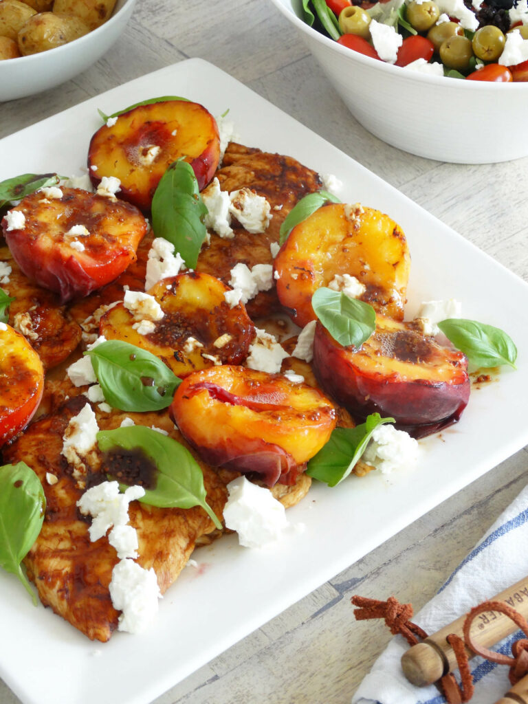 Daddelicious - Griddled chicken with peach and feta - chicken recipe for babies